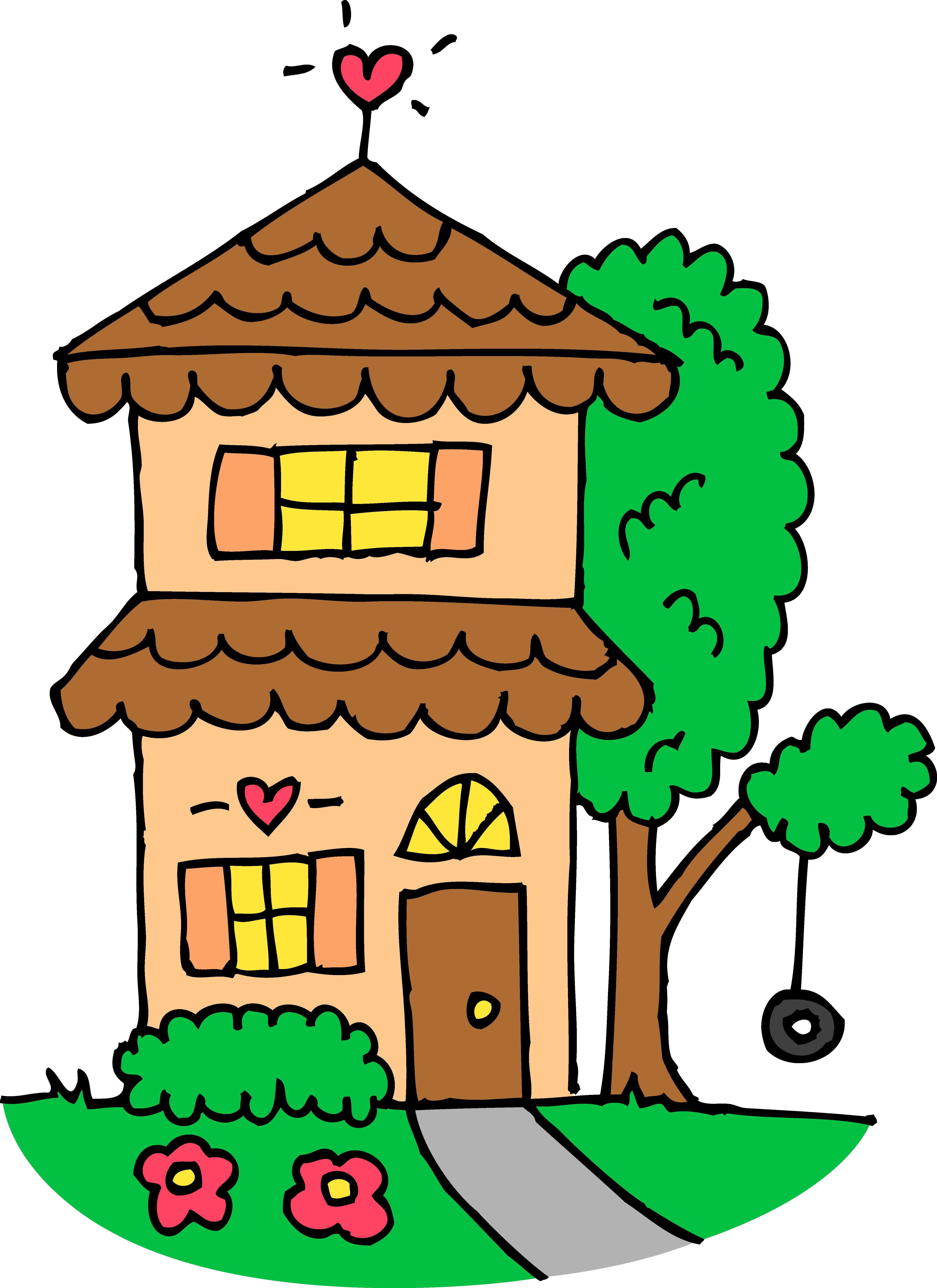 Cute Orange Two Story House - Free Clip Art