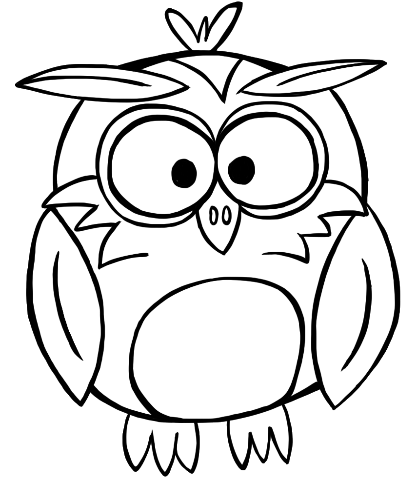 cute owl black and white clipart