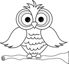Cute owl clipart black and .
