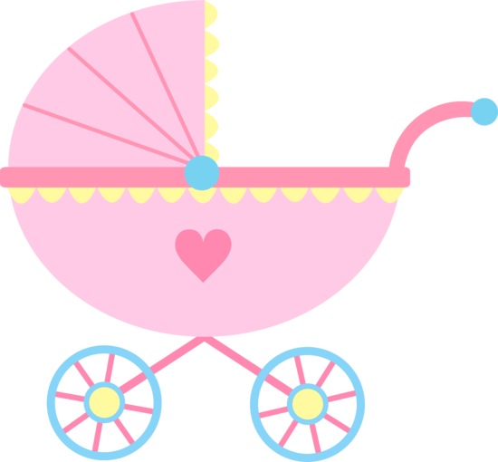 Cute Pink Baby Carriage - Free Clip Art
