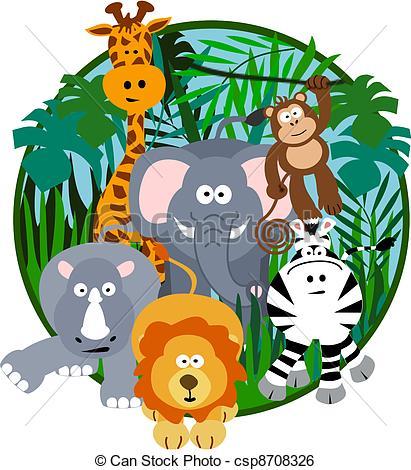 ... Cute Safari Cartoon - Illustration of a cute safari group of.