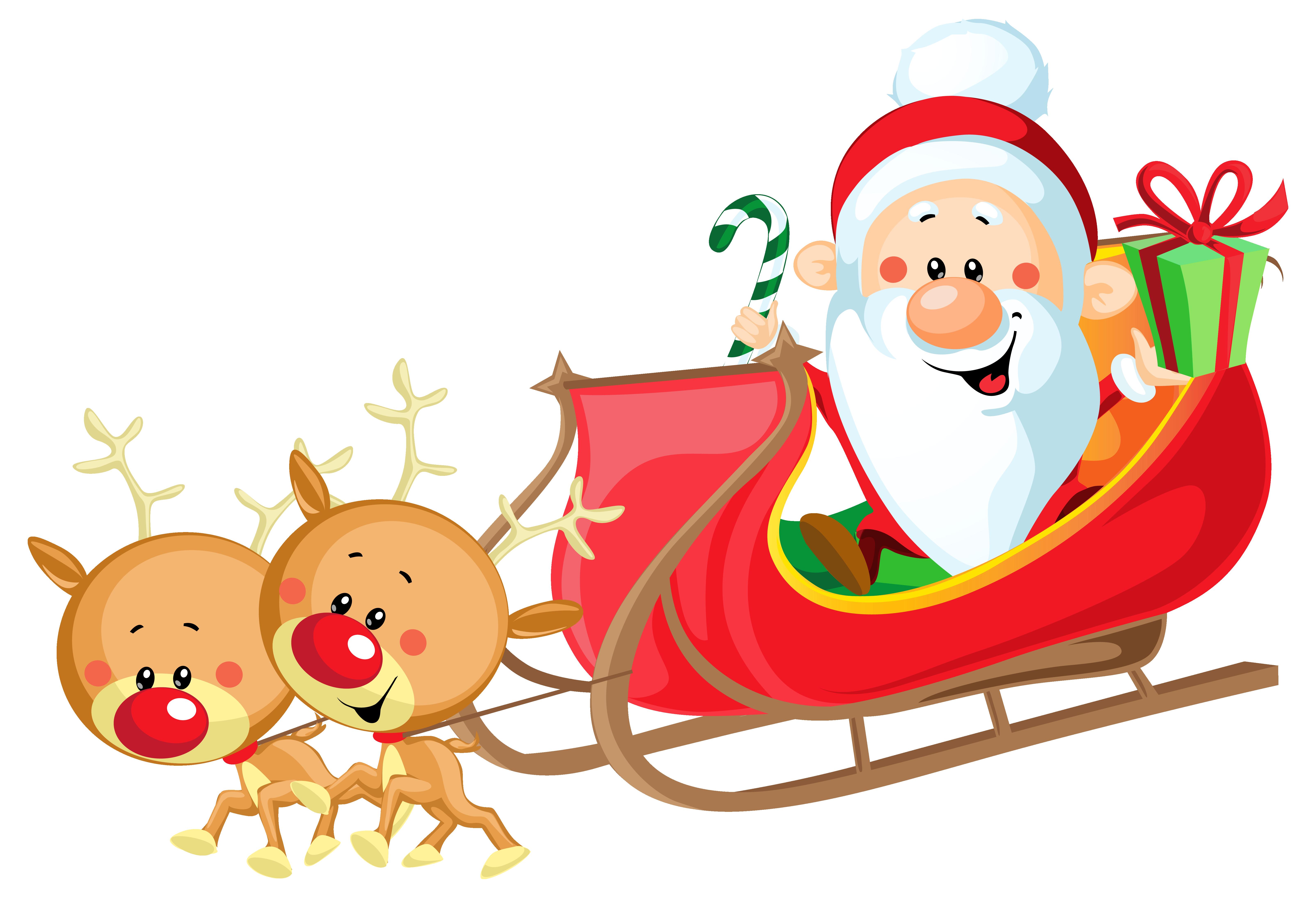 Cute Santa with Sleigh PNG .
