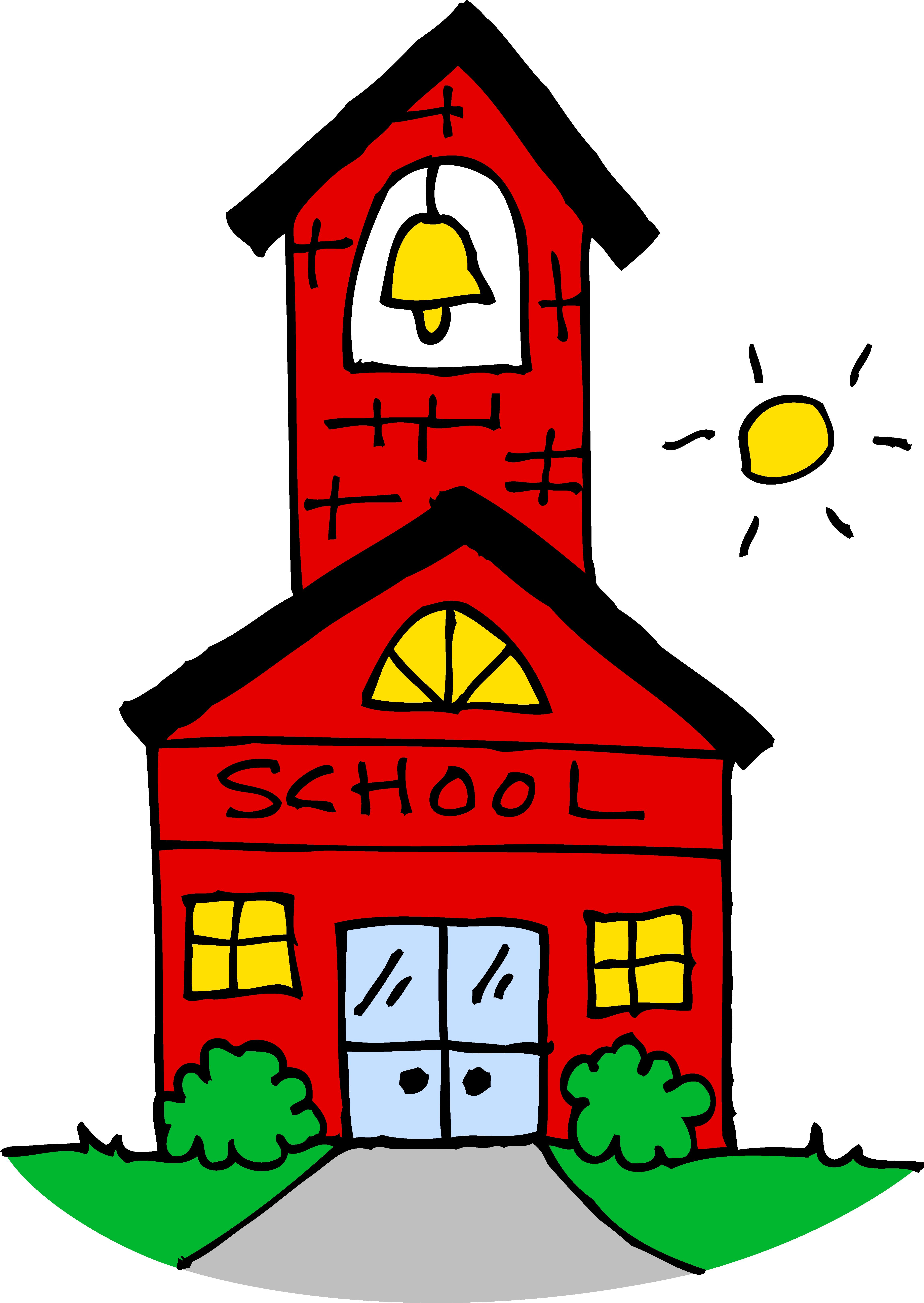 Cute School House Clipart - Free Clip Art