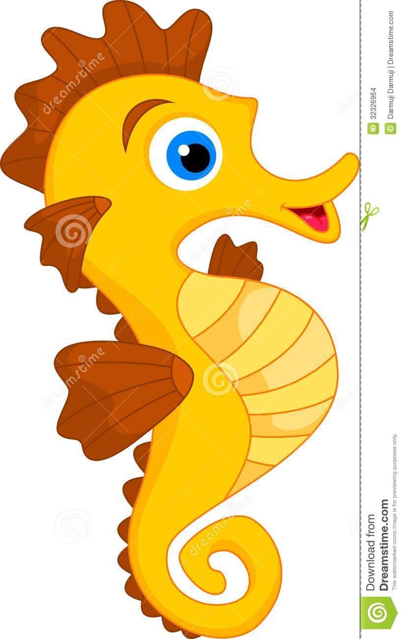 Cute Seahorse Cartoon .