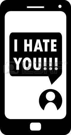 cyber bullying: Cyberbullying conceptualization, I hate you message on smartphone, black and white
