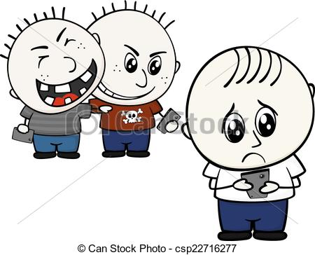... cyber bullying - little child bullied by mobile phone... ...