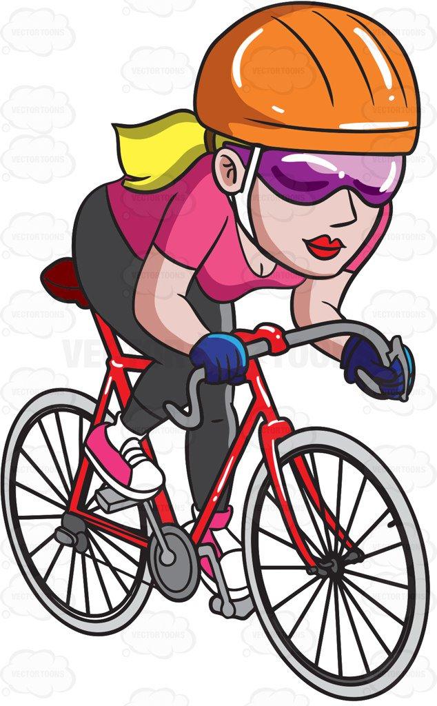 A woman riding a road bike