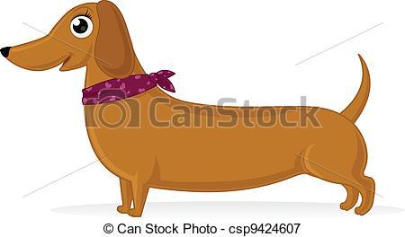 ... Dachshund - Cartoon illustration of dachshund with.