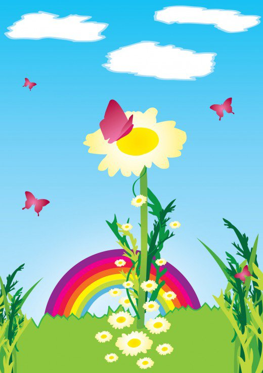 Daisies, Rainbow and Butterflies