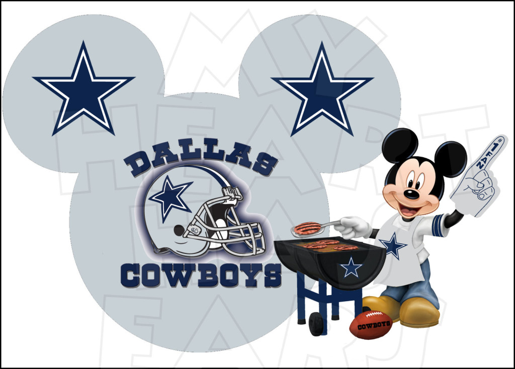 Dallas Cowboys with Mickey Mouse INSTANT DOWNLOAD digital clip art