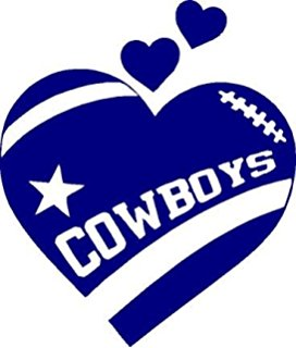 Texas Cowboys Heart Football In Navy Blue 5 inches Dallas Decal Sticker
