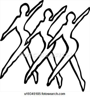 Dance Line View Large Clip Art Graphic