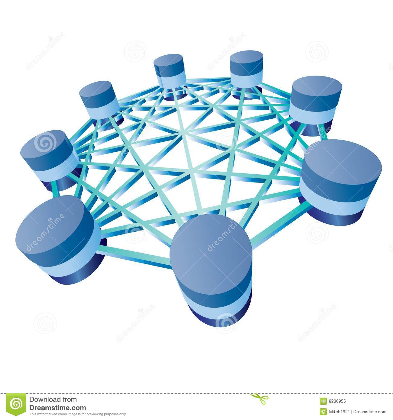 Database. Illustration of database and network architecture isolated over  white background Royalty Free Stock Photo