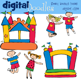Day at the Beach Digital Clip art; Bounce House Party Clipart ...