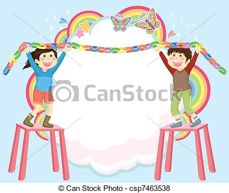 decorating clipart decorating kids kids hanging decorations on abstract  vector space clipart