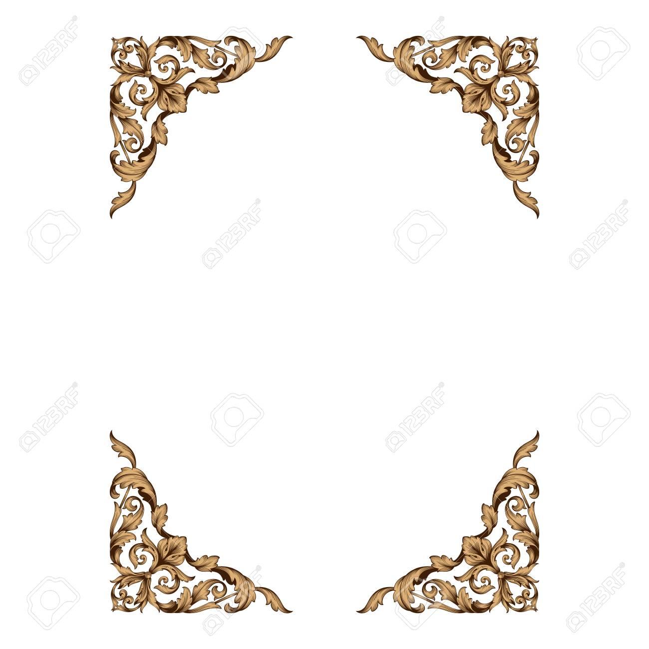 Decorative Line Gold Clipart baroque