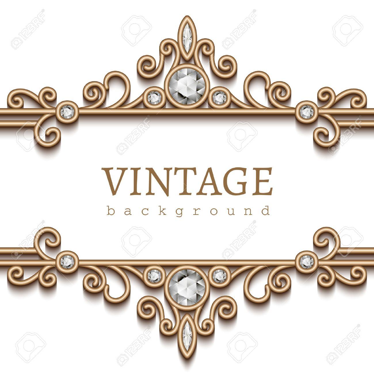 Vintage gold frame on white, divider, header, decorative jewelry background  Stock Vector -