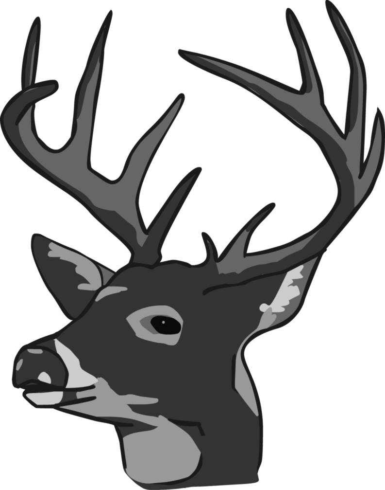 deer head clipart black and white