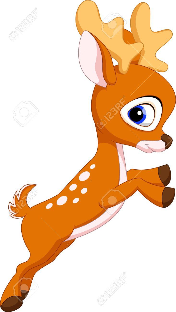 Cute baby deer cartoon jumping Stock Vector - 33888171