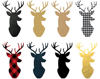 Deer Head Silhouette Digital Clipart - 8 Pieces for Personal u0026amp; Commercial Use - INSTANT DOWNLOAD