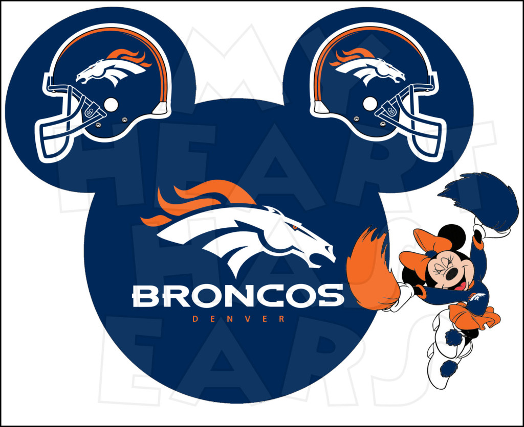 Denver Broncos football with Minnie Mouse INSTANT DOWNLOAD digital clip art