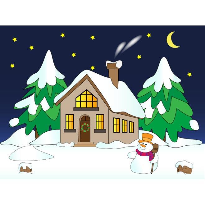 Description Vector Snowman With House Winter Scene Snow Falling Night