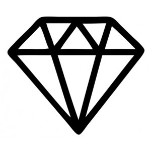 White outline diamond clipart