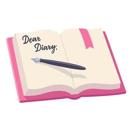 Open Notebook With Pen And Written Words, Dear Diary. Journal Entry, Vector  Illustration