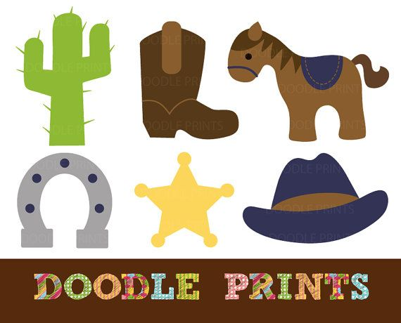 Digital Clip Art Printable - Cowboy Western Clipart Design - Texas Rodeo - Personal Use Only