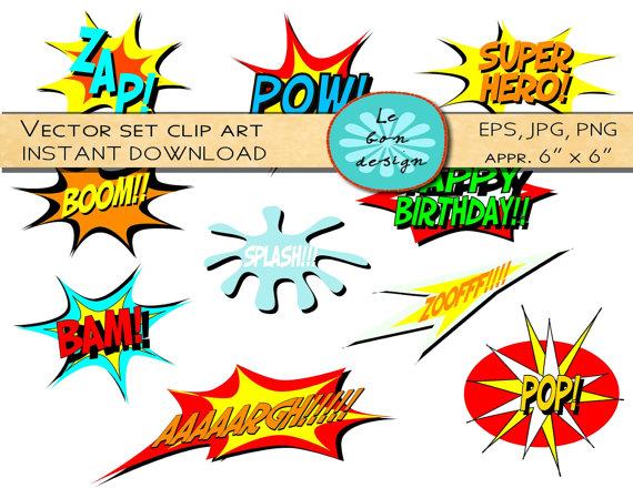 Digital Clip Art Vector Comic Book Superhero Text Personal And