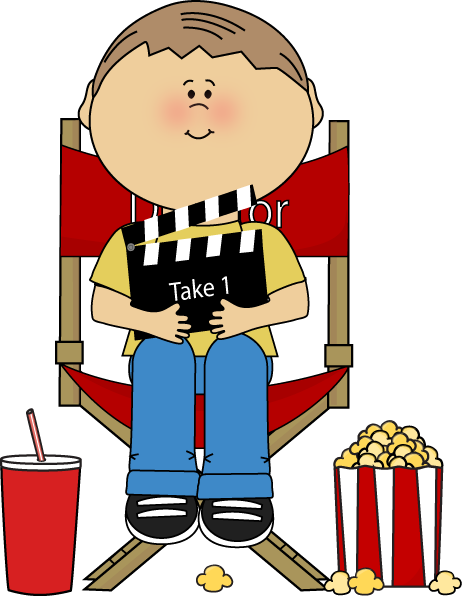 Movie Director Clip Art Image - movie director in a directors chair with a  movie clapperboard.