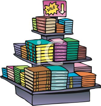 Display Of Books On Sale At A Bookstore Royalty Free Clip Art