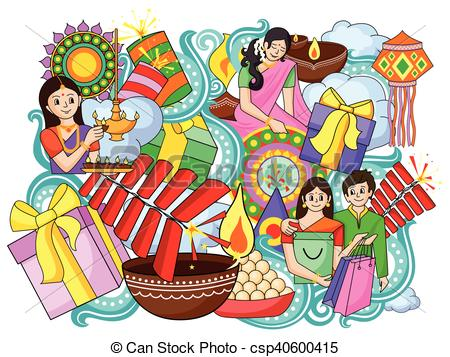 India festival of Lights Happy Diwali doddle background - csp40600415