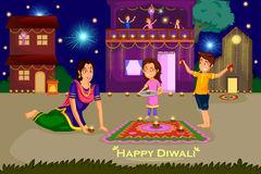 Woman making rangoli for Diwali celebration festival of India. In vector  Royalty Free Stock Photos