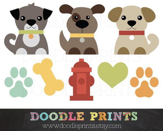 Dog Clip Art Printable - Dogs Clipart Design - Puppy Love Design - Pets, Puppy