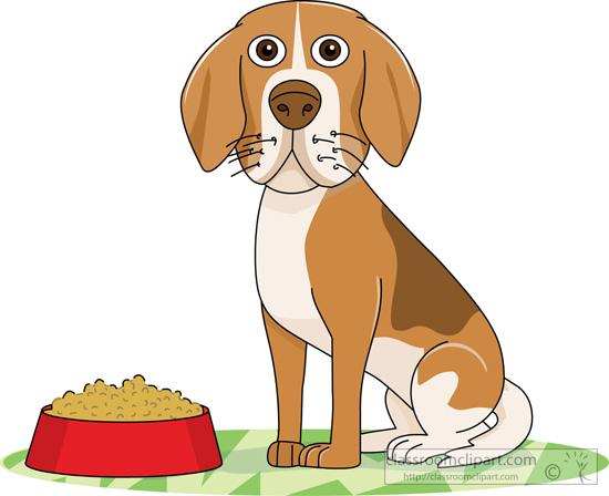 Dog Clipart Dog Sitting Near Red Dog Food Bowl 2 Classroom Clipart
