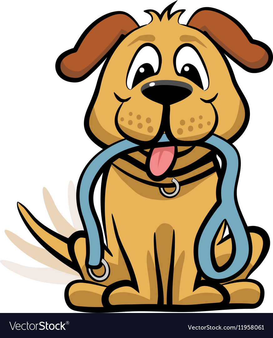 Dog waiting to walk clipart vector image