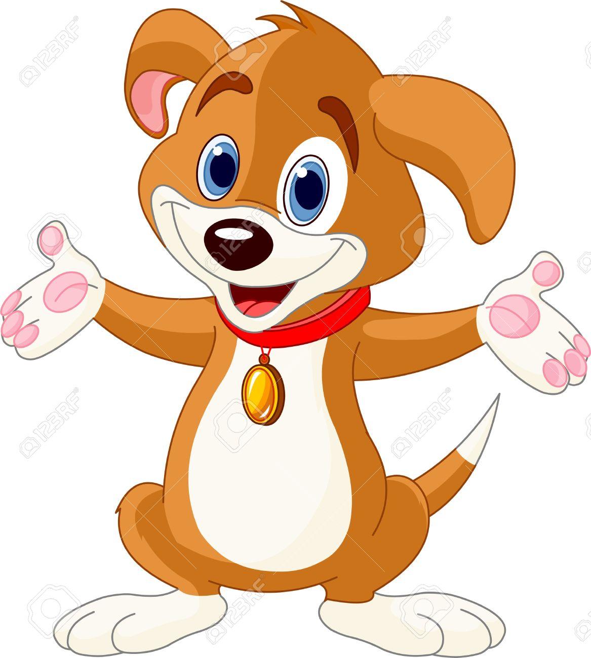 Illustration of cute puppy raising his hands Illustration