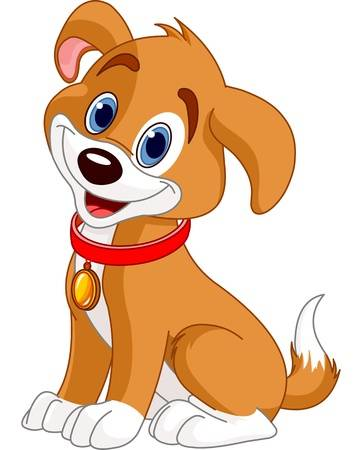 Illustration of cute puppy, wearing a red collar with gold tag Illustration