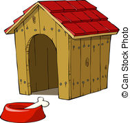 ... Dog house and bowl with a bone vector illustration