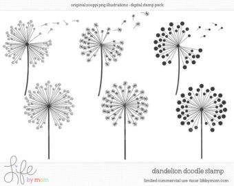 Doodle Dandelion Clipart, Illustrations, Digital Stamp, Clip Art, Doodle, Digital Stamps, Doodles, Stamp - Limited Commercial Use OK