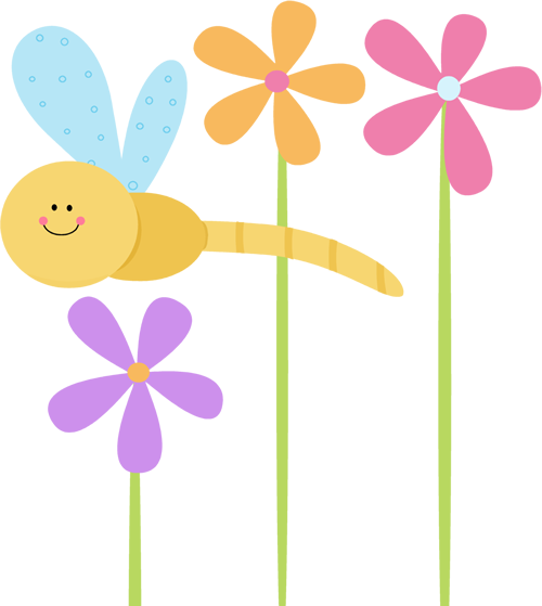 Dragonfly And Flowers Clip Art Dragonfly And Flowers Image
