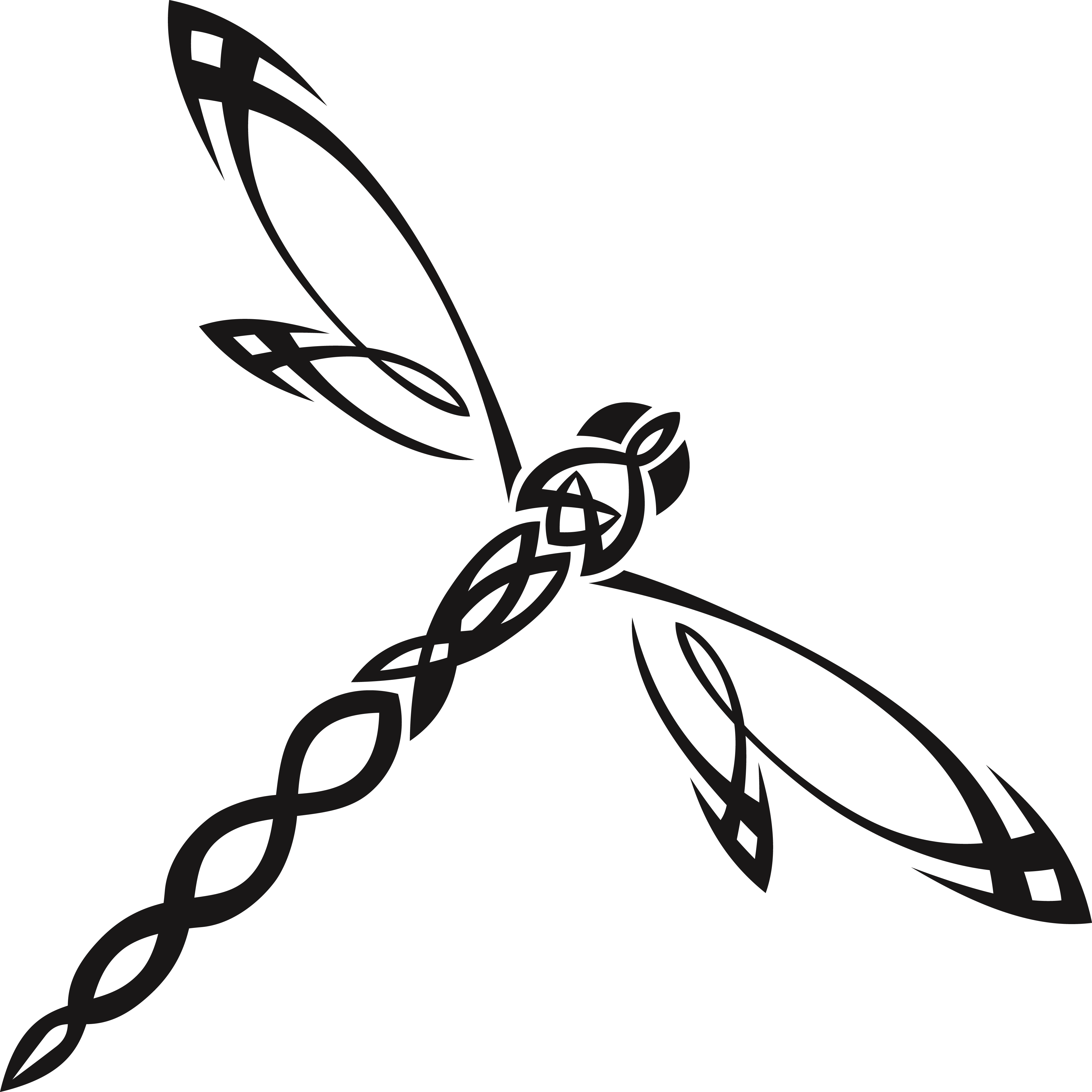 Free Clipart Of A tribal dragonfly #00011676 .