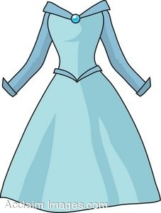 227x300 Clip Art Picture of a Princess Style Dress