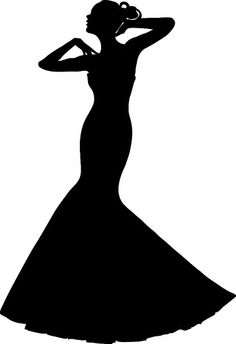 Wedding Dress Shadow Clip Art | Clip Art Illustration of a Spring Bride in  a Strapless