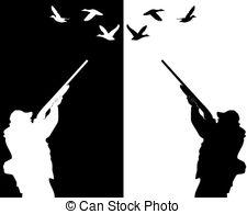... ducks hunter - silhouettes of ducks hunter on a white... ducks hunter Clipartby ...