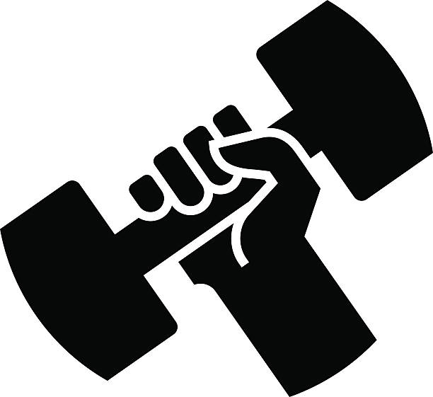 Dumbbell in hand icon vector art illustration