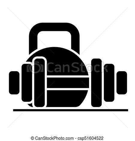 Weights And Dumbbells Icon, Vector Illustration, Black Sign On Isolated  Background