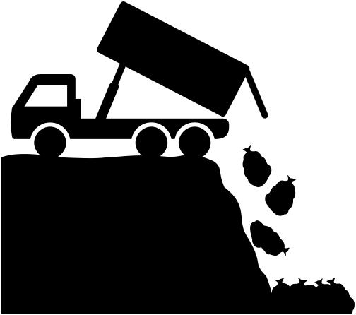 dump truck unloading .