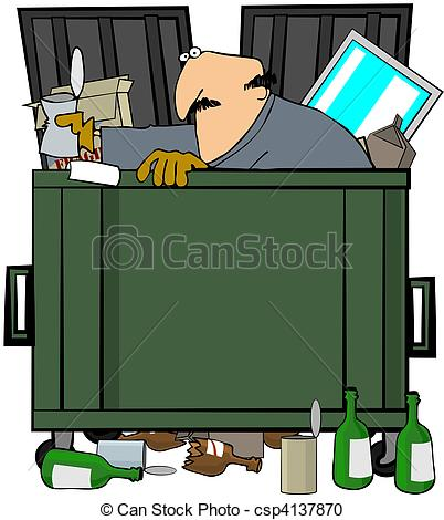 ... Dumpster Diver - This illustration depicts a man rummaging.